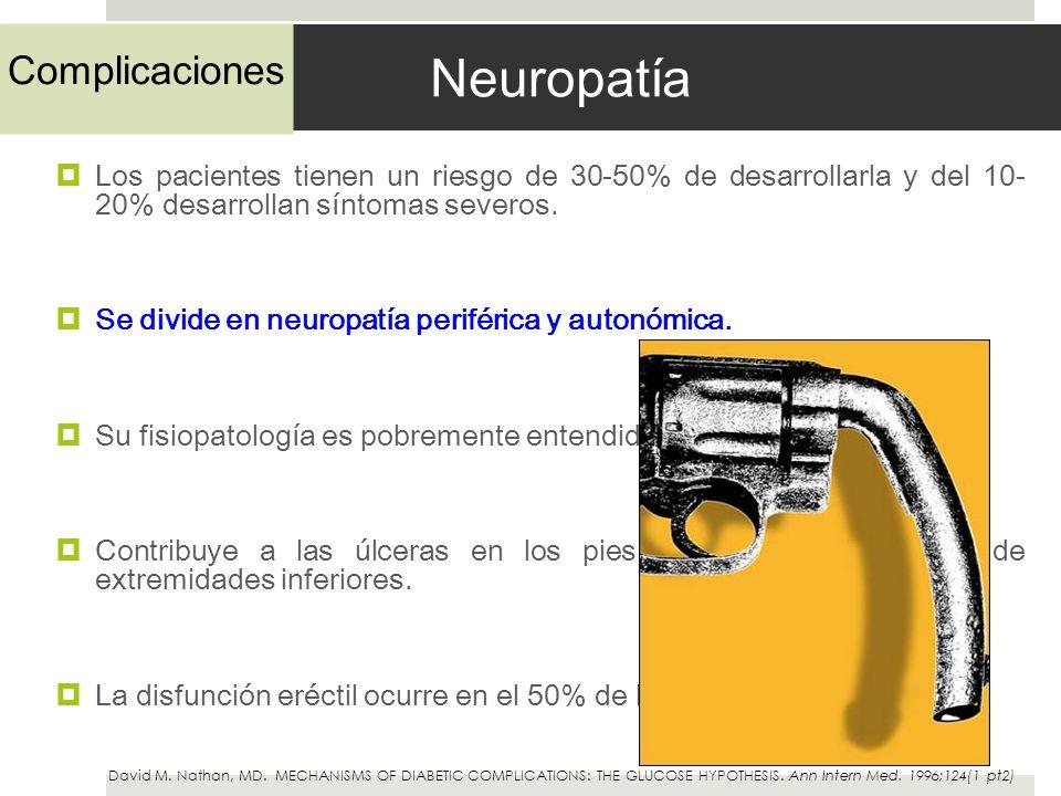 Neuropatía Los pacientes tienen un riesgo de 30-50% de desarrollarla y del 10- 20% desarrollan síntomas severos. Se divide en neuropatía periférica y