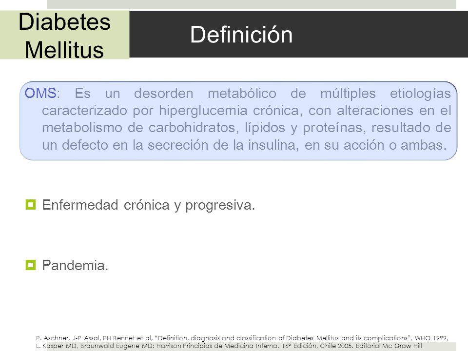 Definición OMS: Es un desorden metabólico de múltiples etiologías caracterizado por hiperglucemia crónica, con alteraciones en el metabolismo de carbo