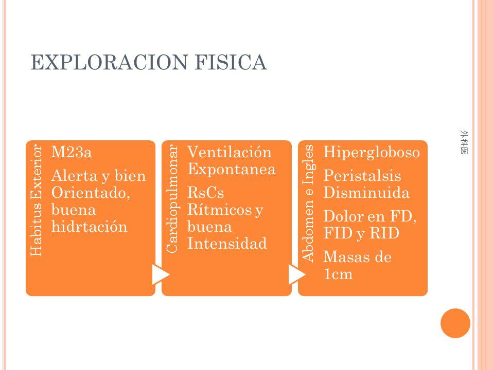 EXPLORACION FISICA Habitus Exterior M23a Alerta y bien Orientado, buena hidrtación Cardiopulmonar Ventilación Expontanea RsCs Rítmicos y buena Intensi