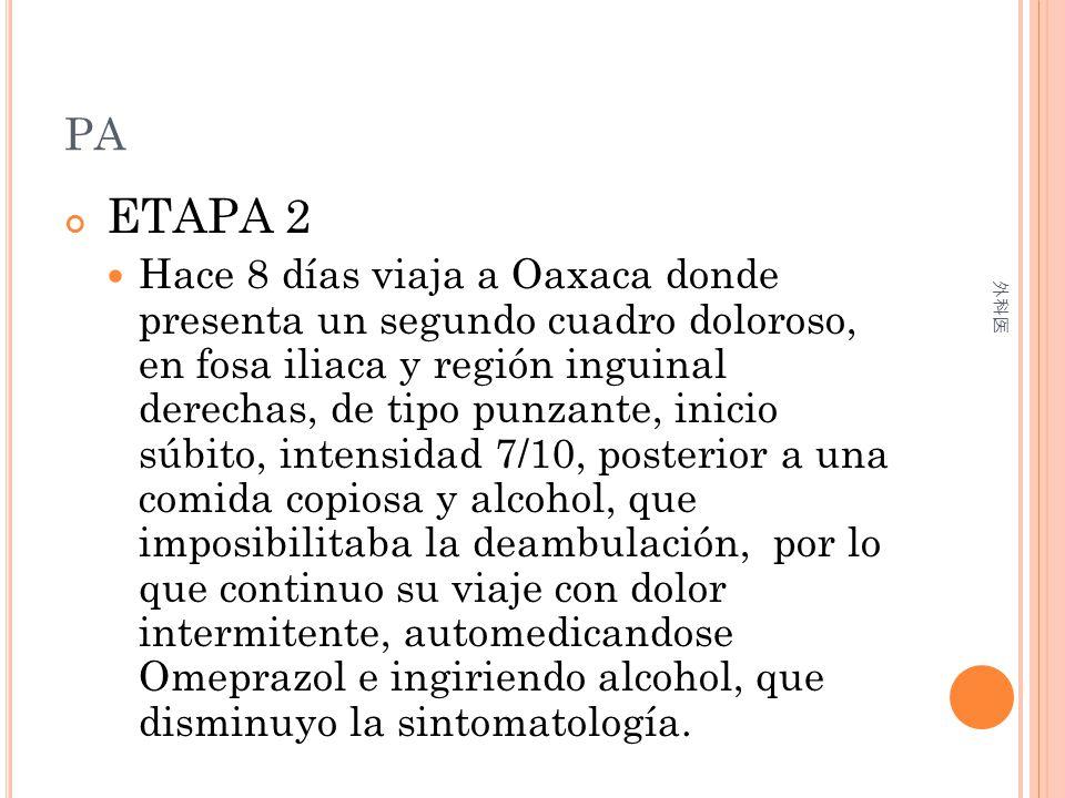 PA ETAPA 2 Hace 8 días viaja a Oaxaca donde presenta un segundo cuadro doloroso, en fosa iliaca y región inguinal derechas, de tipo punzante, inicio s