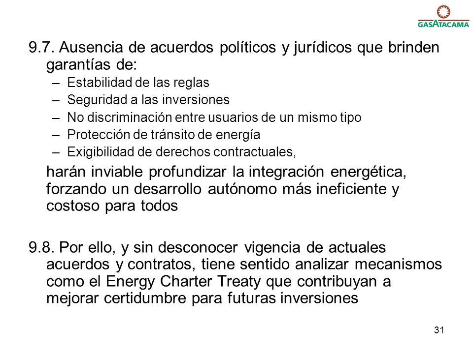 31 9.7. Ausencia de acuerdos políticos y jurídicos que brinden garantías de: –Estabilidad de las reglas –Seguridad a las inversiones –No discriminació