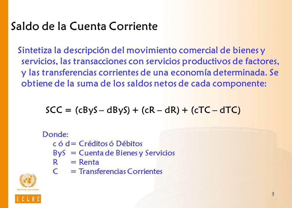 3 Saldo de la Cuenta Corriente Sintetiza la descripción del movimiento comercial de bienes y servicios, las transacciones con servicios productivos de