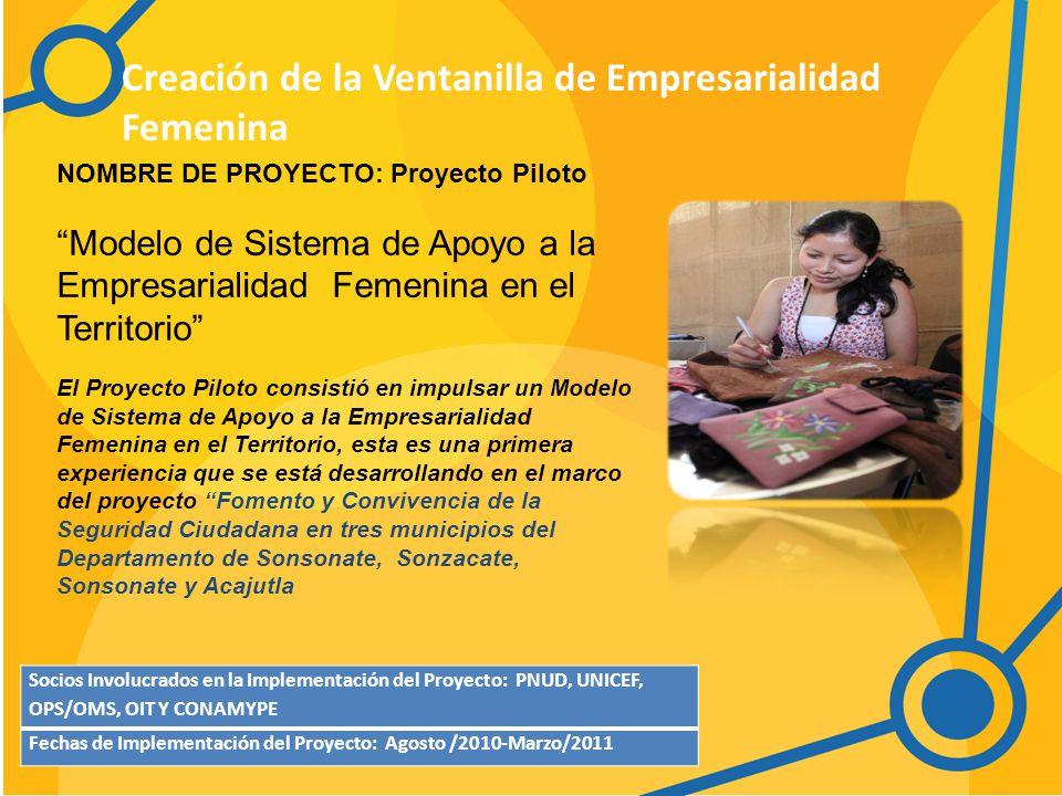 Creación de la Ventanilla de Empresarialidad Femenina Socios Involucrados en la Implementación del Proyecto: PNUD, UNICEF, OPS/OMS, OIT Y CONAMYPE Fechas de Implementación del Proyecto: Agosto /2010-Marzo/2011 NOMBRE DE PROYECTO: Proyecto Piloto Modelo de Sistema de Apoyo a la Empresarialidad Femenina en el Territorio El Proyecto Piloto consistió en impulsar un Modelo de Sistema de Apoyo a la Empresarialidad Femenina en el Territorio, esta es una primera experiencia que se está desarrollando en el marco del proyecto Fomento y Convivencia de la Seguridad Ciudadana en tres municipios del Departamento de Sonsonate, Sonzacate, Sonsonate y Acajutla