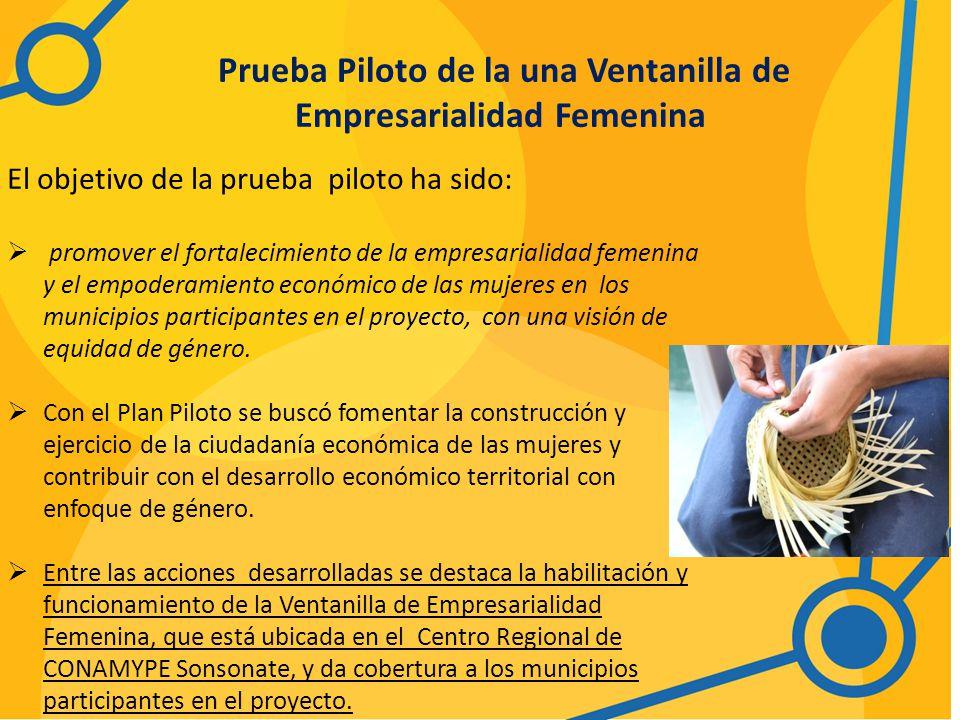 Prueba Piloto de la una Ventanilla de Empresarialidad Femenina El objetivo de la prueba piloto ha sido: promover el fortalecimiento de la empresarialidad femenina y el empoderamiento económico de las mujeres en los municipios participantes en el proyecto, con una visión de equidad de género.