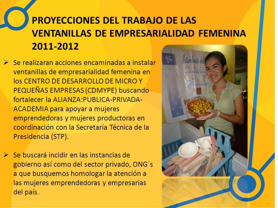 PROYECCIONES DEL TRABAJO DE LAS VENTANILLAS DE EMPRESARIALIDAD FEMENINA 2011-2012 Se realizaran acciones encaminadas a instalar ventanillas de empresarialidad femenina en los CENTRO DE DESARROLLO DE MICRO Y PEQUEÑAS EMPRESAS (CDMYPE) buscando fortalecer la ALIANZA:PUBLICA-PRIVADA- ACADEMIA para apoyar a mujeres emprendedoras y mujeres productoras en coordinación con la Secretaría Técnica de la Presidencia (STP).