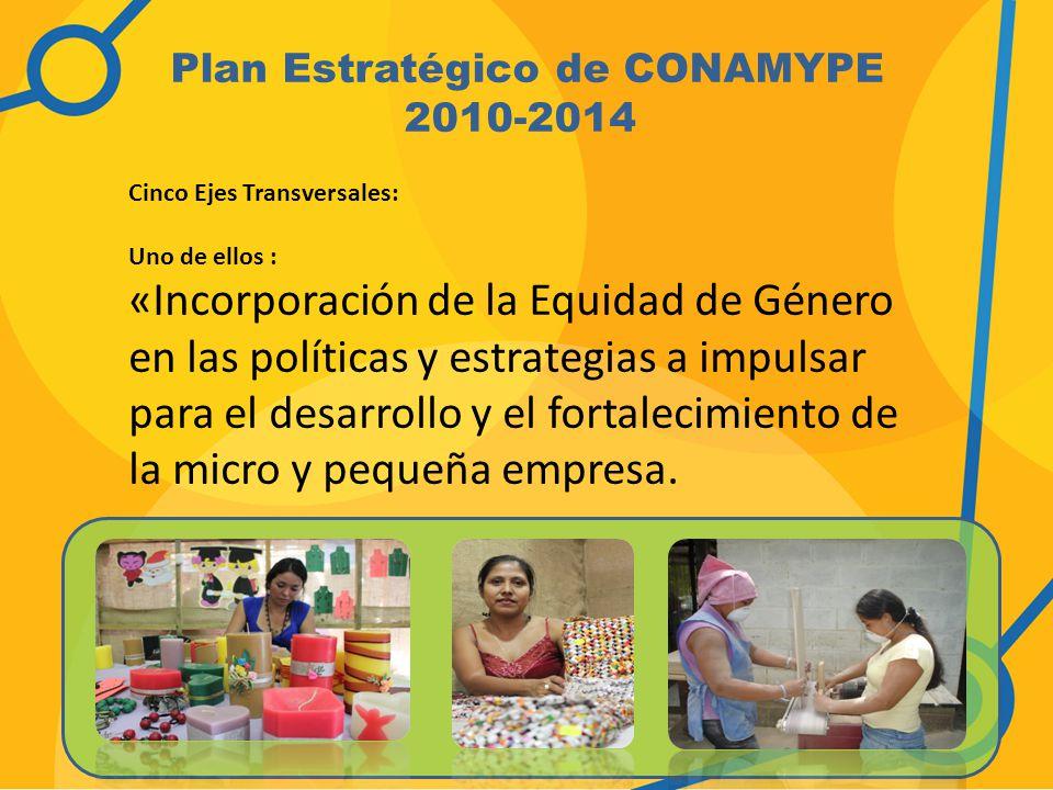 Plan Estratégico de CONAMYPE 2010-2014 Cinco Ejes Transversales: Uno de ellos : «Incorporación de la Equidad de Género en las políticas y estrategias a impulsar para el desarrollo y el fortalecimiento de la micro y pequeña empresa.