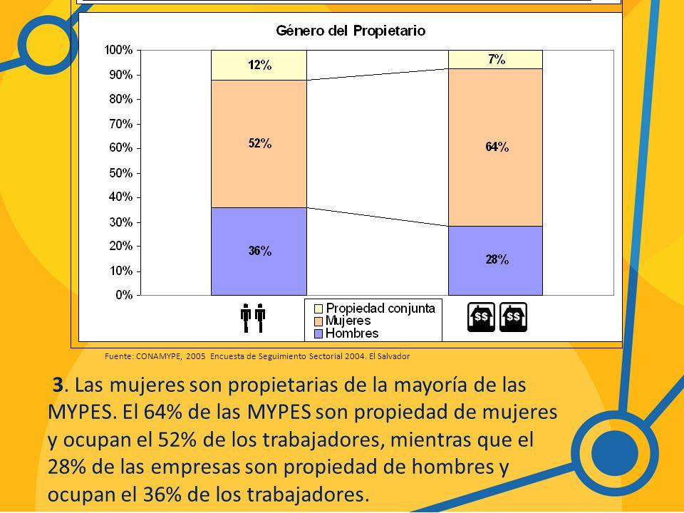 Fuente: CONAMYPE, 2005 Encuesta de Seguimiento Sectorial 2004.