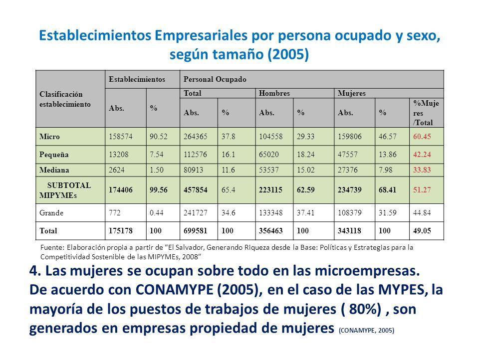 Fuente: Elaboración propia a partir de El Salvador, Generando Riqueza desde la Base: Políticas y Estrategias para la Competitividad Sostenible de las MIPYMEs, 2008 4.
