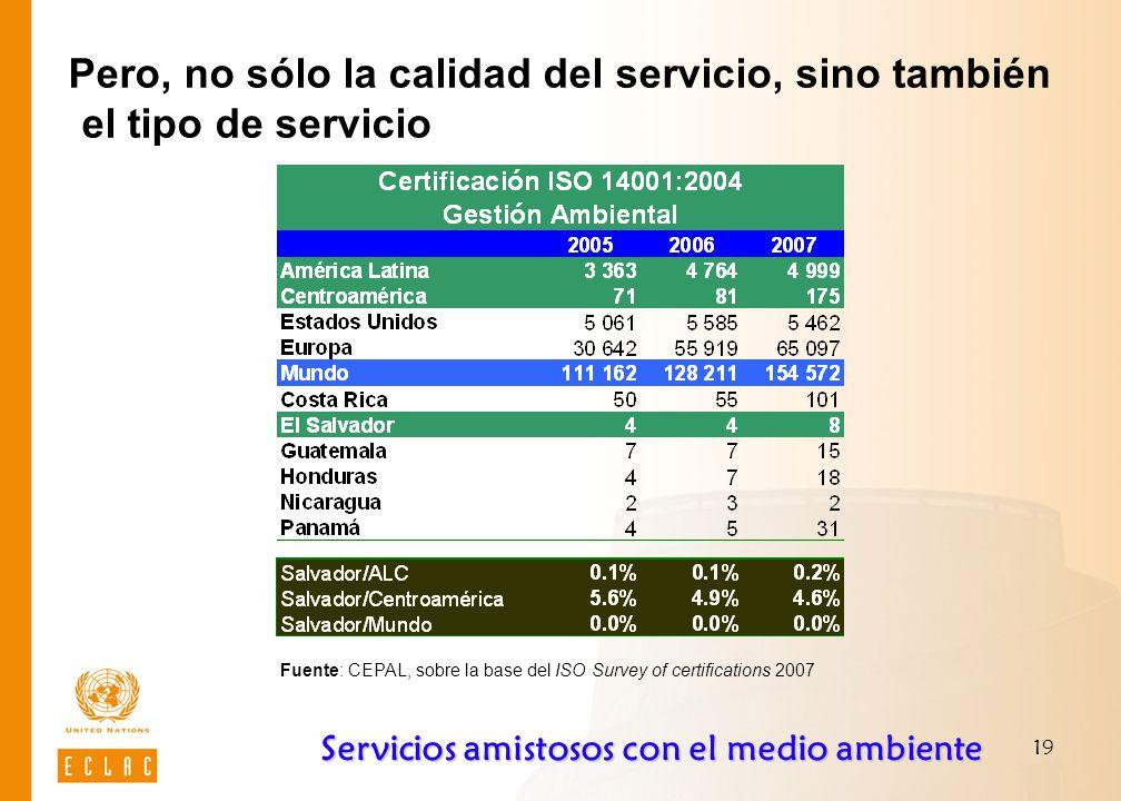 19 Pero, no sólo la calidad del servicio, sino también el tipo de servicio Fuente: CEPAL, sobre la base del ISO Survey of certifications 2007 Servicios amistosos con el medio ambiente