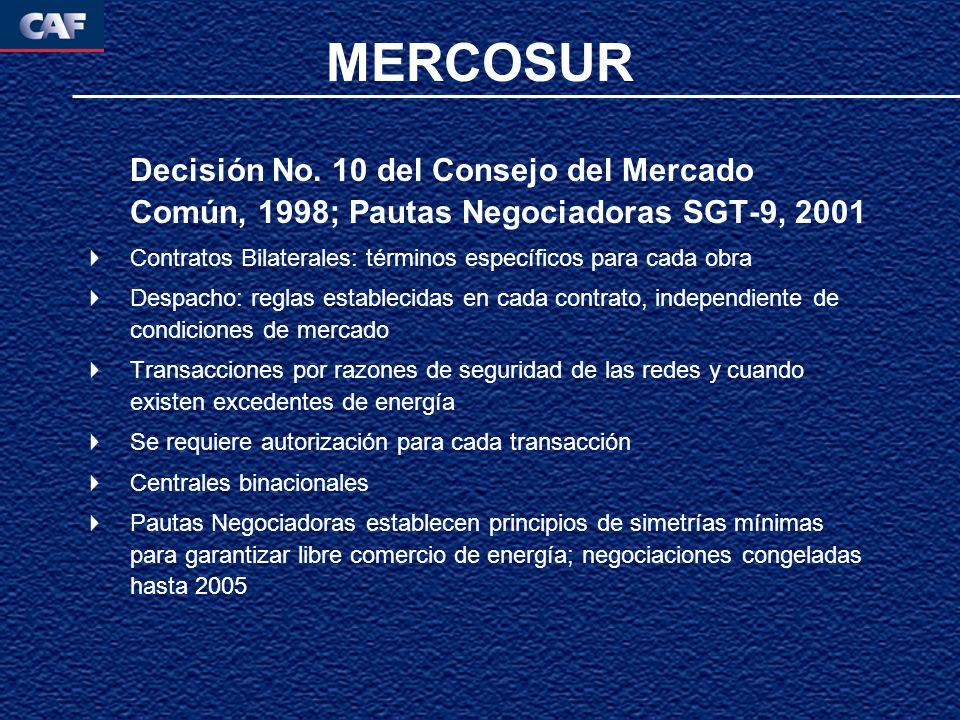 Decisión No. 10 del Consejo del Mercado Común, 1998; Pautas Negociadoras SGT-9, 2001 Contratos Bilaterales: términos específicos para cada obra Despac