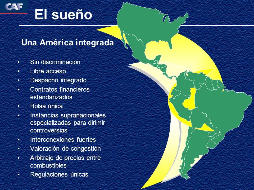 El sueño Una América integrada Sin discriminación Libre acceso Despacho integrado Contratos financieros estandarizados Bolsa única Instancias supranac