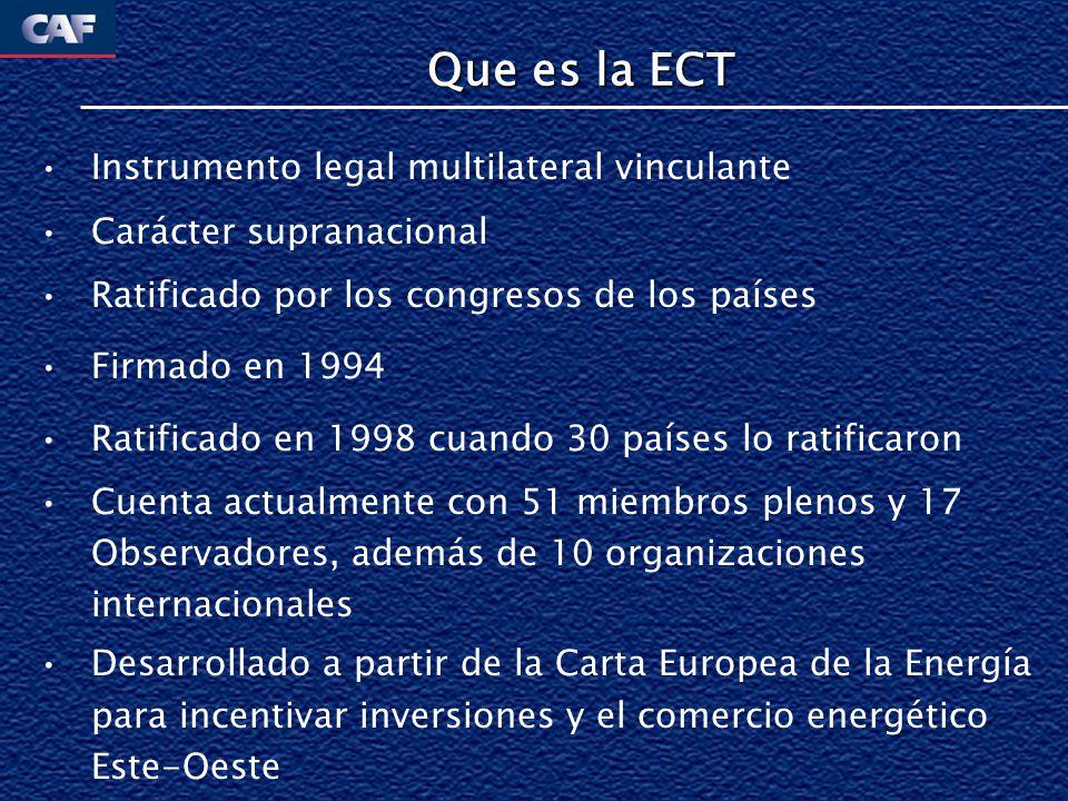 Que es la ECT Instrumento legal multilateral vinculante Carácter supranacional Ratificado por los congresos de los países Firmado en 1994 Ratificado e