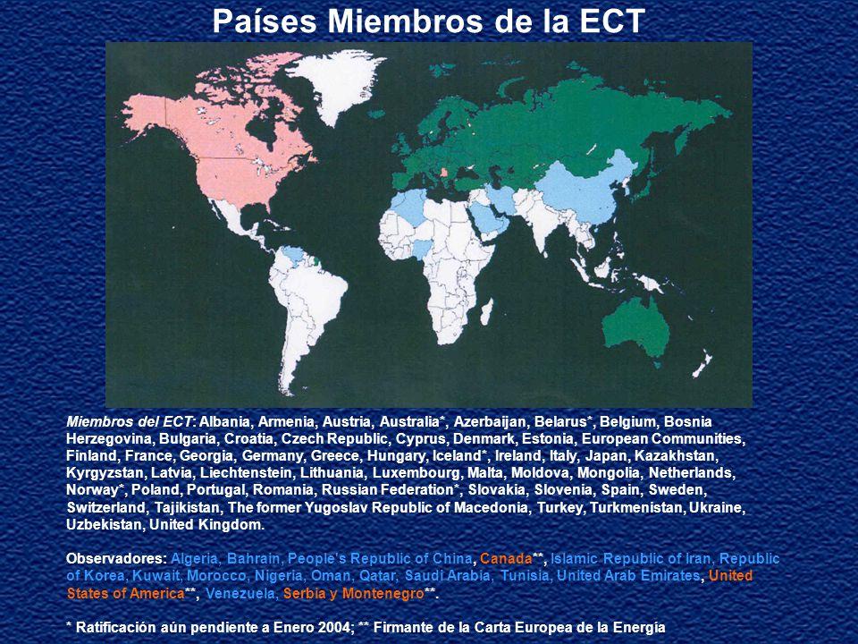 Objetivo de la ECT Ser una herramienta legal para ayudar a los países miembros a reformar sus mercados energéticos y lograr mayores niveles de apertura en la inversión y el comercio de productos y servicios energéticos, así como equipos relacionados a la energía Fijar estándares y parámetros para el mejor funcionamiento de la economía del mercado energético Ser foro para el intercambio de ideas sobre políticas públicas en los desafios comunes que enfrentan los gobiernos en el diseño e implementación de reglas para la apertura de los mercados de energía Lograr el libre tránsito a través de gasoductos, redes y otros medios de transporte Ser un mecanismo de resolución de disputas Elevar los niveles de eficiencia energética y aspectos ambientales relacionados