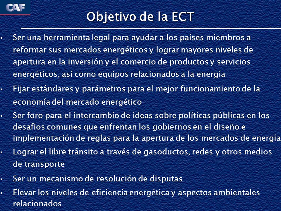 Áreas de Acción de la ECT Eficiencia Energética Metas a alcanzar y revisiones periódicas sobre cumplimiento; promoción Protección de Inversiones Extensión de tratamiento nacional o Most-favored Nation Análisis y revisión de los países de la situación institucional, estructuas de mercado; y ambiente para inversiones Tránsito Aplica cuando energía atraviesa al menos dos fronteras nacionales Negociación de reglas de se inicia en 2000 y a Diciembre de 2003 se cancela por falta de acuerdo entre las partes Comercio Aplica las reglas del WTO a los países miembros del WTO; Cuando un país en una transacción no es miembro del WTO, aplican términos especiales Trato no discriminatorio Libertad de tránsito de la energía por ductos, redes y otros medios