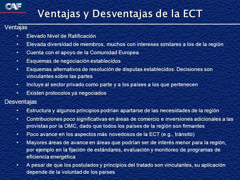 Ventajas y Desventajas de la ECT Ventajas Elevado Nivel de Ratificación Elevada diversidad de miembros, muchos con intereses similares a los de la reg