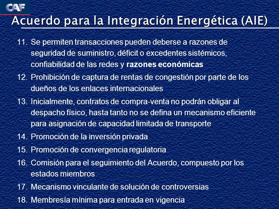 Ventajas y Desventajas del AIE Ventajas Adaptado a las necesidades de la región Abierto a la negociación de sus términos Específico para los problemas más importantes que enfrenta la región: apertura de las redes y liberalización de los intercambios Prevé esquema de resolución de disputas.