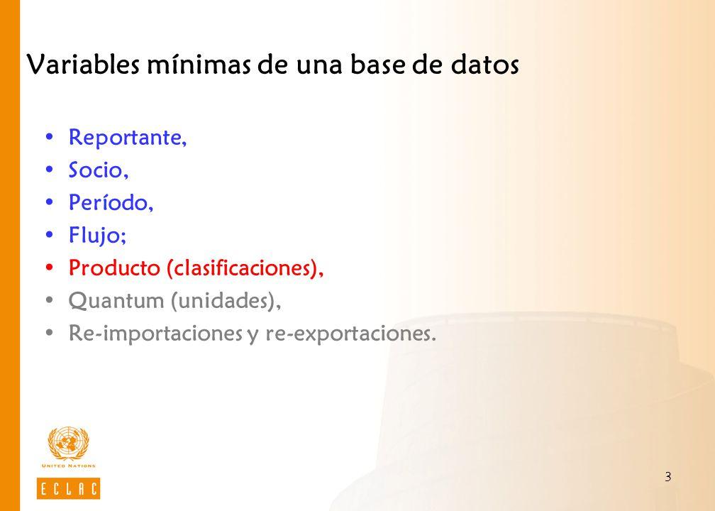 3 Variables mínimas de una base de datos Reportante, Socio, Período, Flujo; Producto (clasificaciones), Quantum (unidades), Re-importaciones y re-exportaciones.