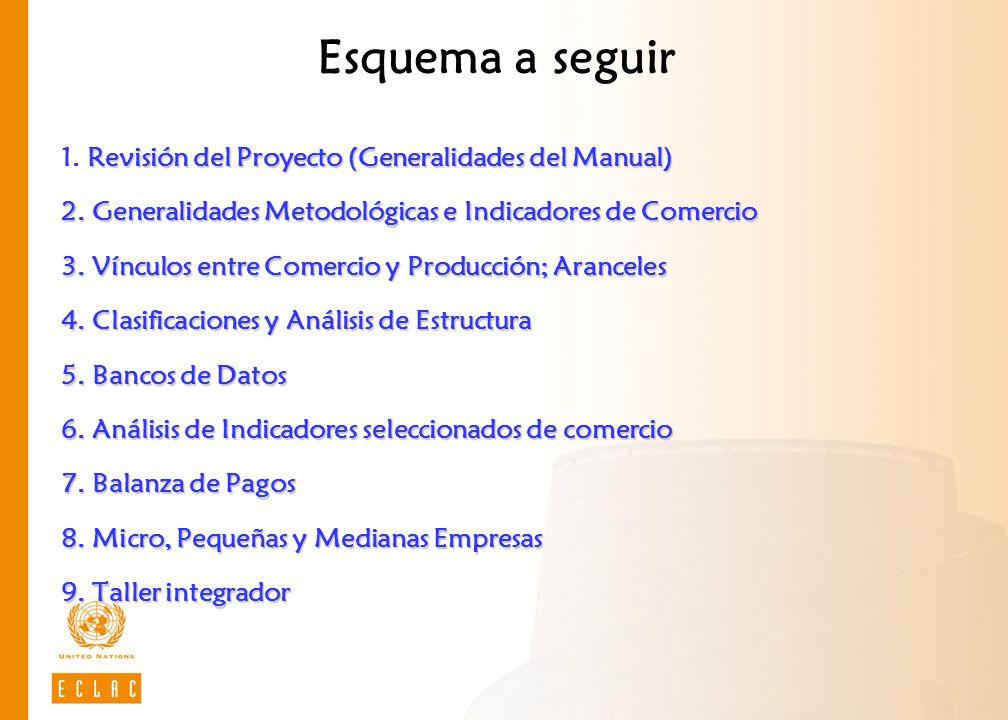 Esquema a seguir Revisión del Proyecto (Generalidades del Manual) 2. Generalidades Metodológicas e Indicadores de Comercio 3. Vínculos entre Comercio