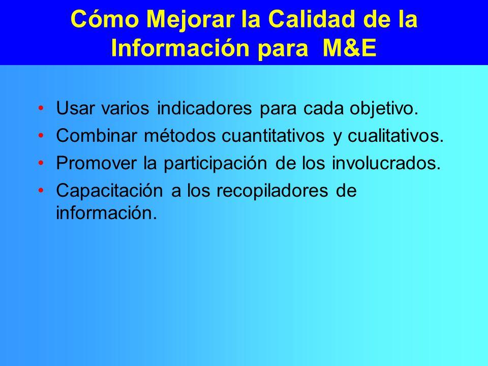 Cómo Mejorar la Calidad de la Información para M&E Usar varios indicadores para cada objetivo.