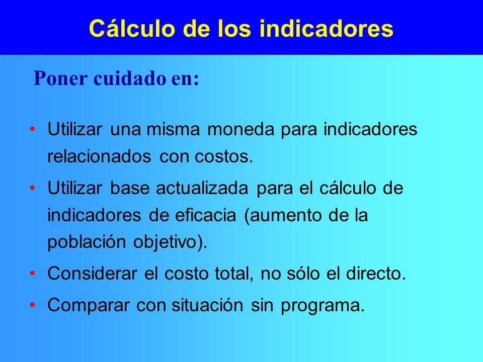 Cálculo de los indicadores Utilizar una misma moneda para indicadores relacionados con costos.