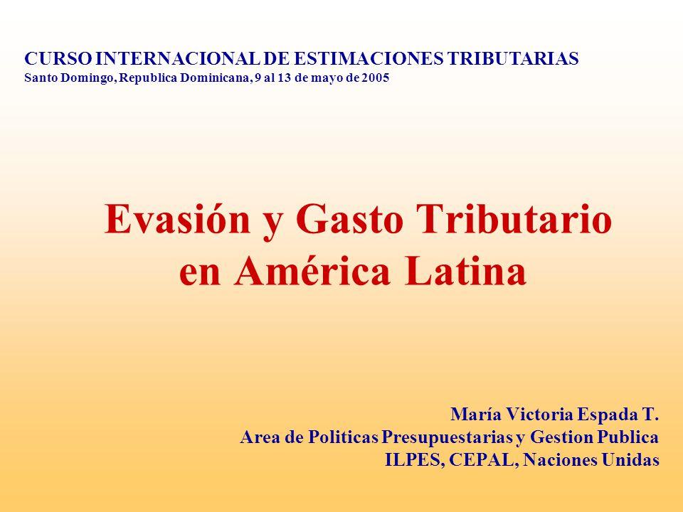 Evasión y Gasto Tributario en América Latina María Victoria Espada T. Area de Politicas Presupuestarias y Gestion Publica ILPES, CEPAL, Naciones Unida