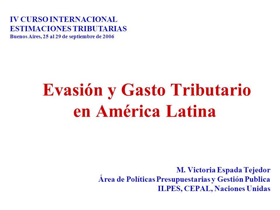 Evasión y Gasto Tributario en América Latina M. Victoria Espada Tejedor Área de Políticas Presupuestarias y Gestión Publica ILPES, CEPAL, Naciones Uni