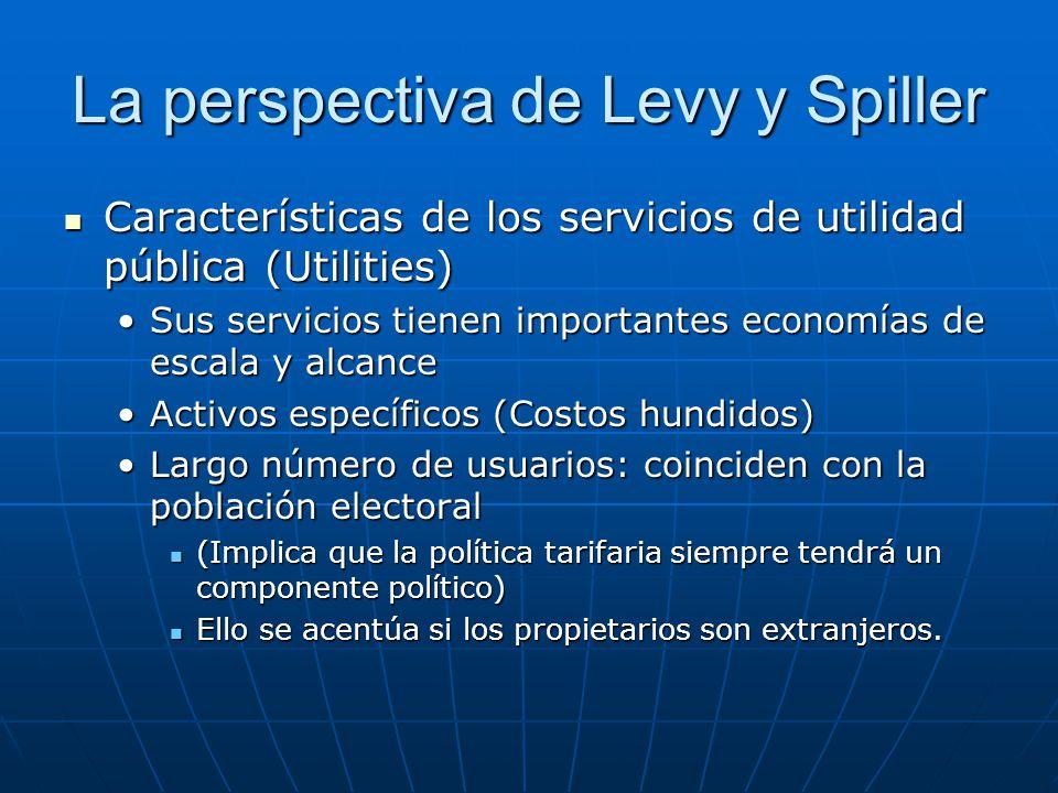 La perspectiva de Levy y Spiller Características de los servicios de utilidad pública (Utilities) Características de los servicios de utilidad pública