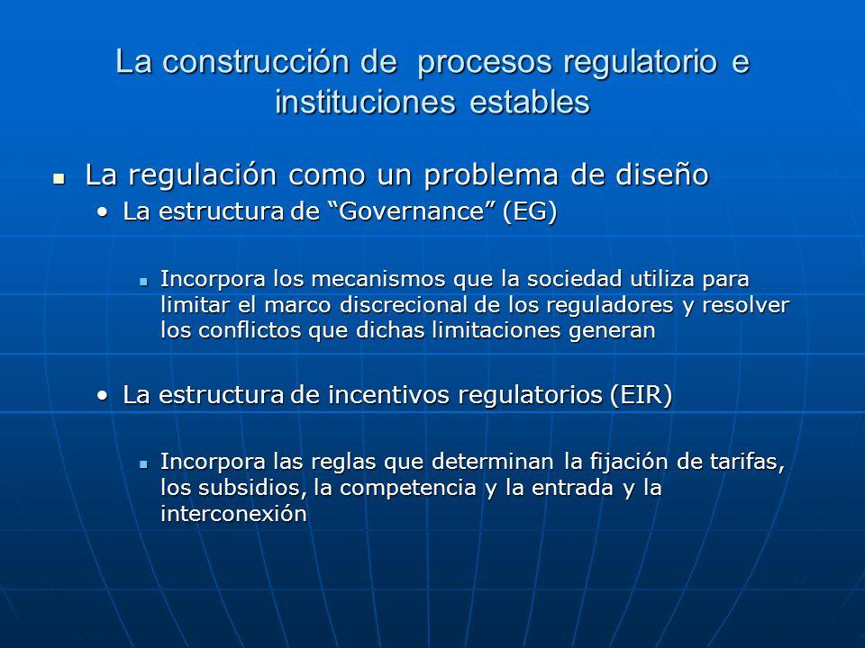 La construcción de procesos regulatorio e instituciones estables La regulación como un problema de diseño La regulación como un problema de diseño La