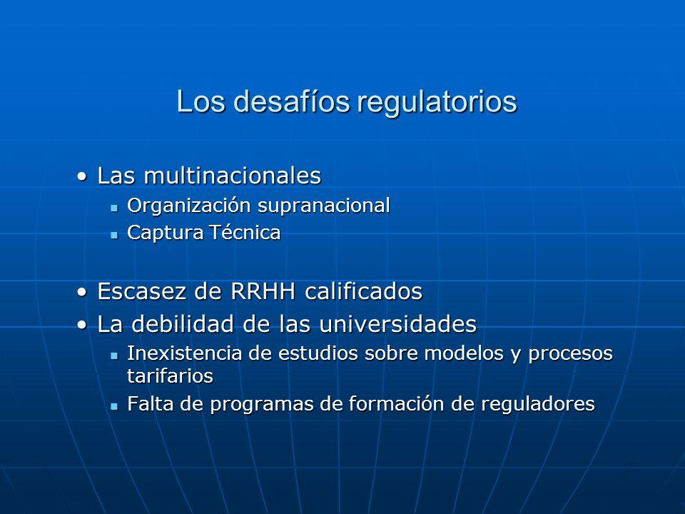 Los desafíos regulatorios Los desafíos regulatorios Las multinacionalesLas multinacionales Organización supranacional Organización supranacional Captu