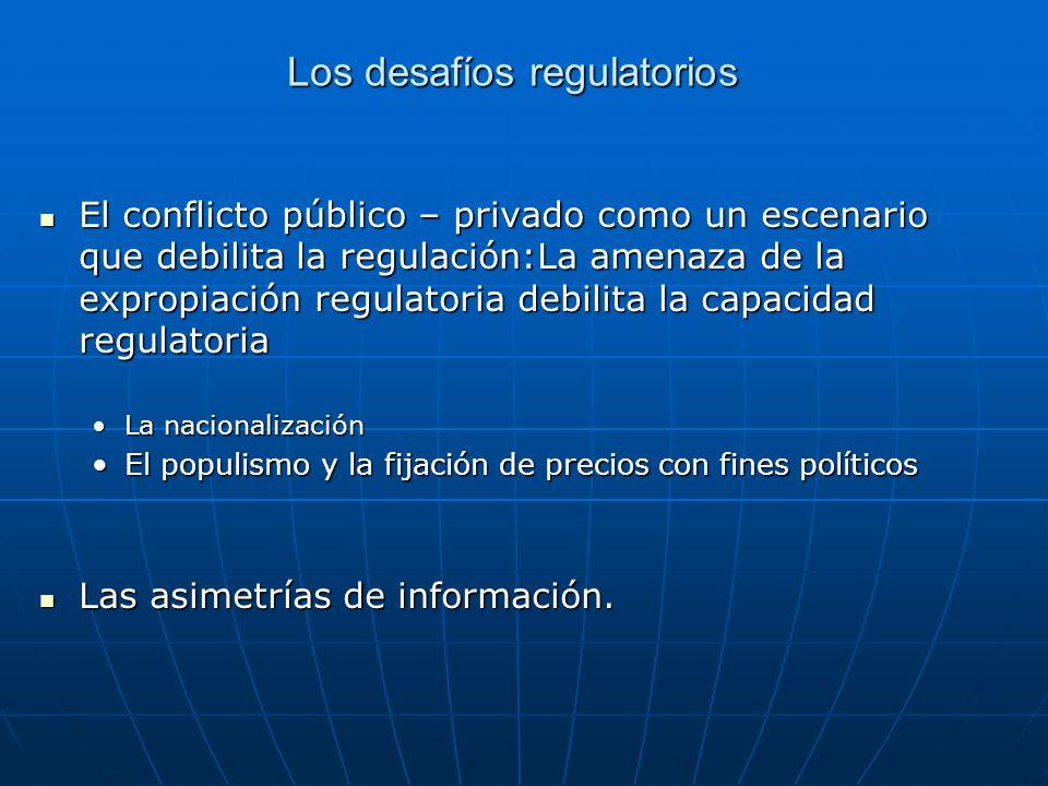 El conflicto público – privado como un escenario que debilita la regulación:La amenaza de la expropiación regulatoria debilita la capacidad regulatori
