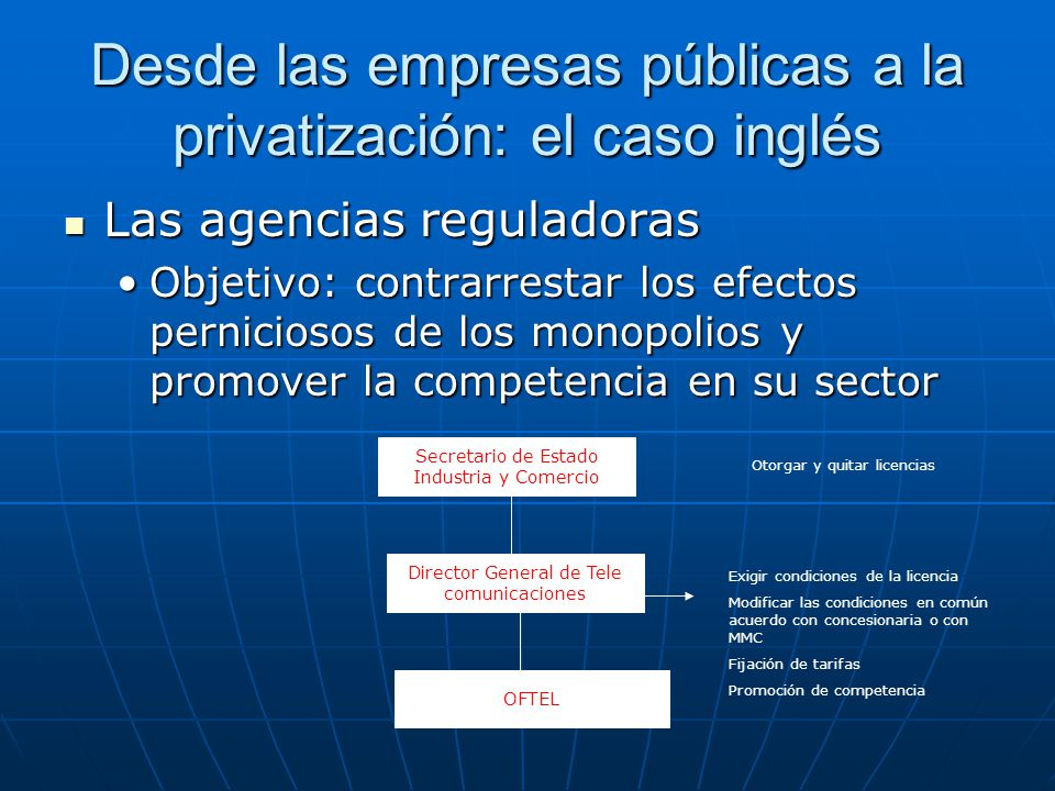 Desde las empresas públicas a la privatización: el caso inglés Las agencias reguladoras Las agencias reguladoras Objetivo: contrarrestar los efectos p