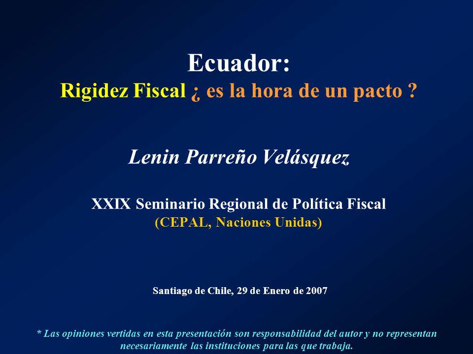 Ecuador: Rigidez Fiscal ¿ es la hora de un pacto ? Lenin Parreño Velásquez XXIX Seminario Regional de Política Fiscal (CEPAL, Naciones Unidas) Santiag