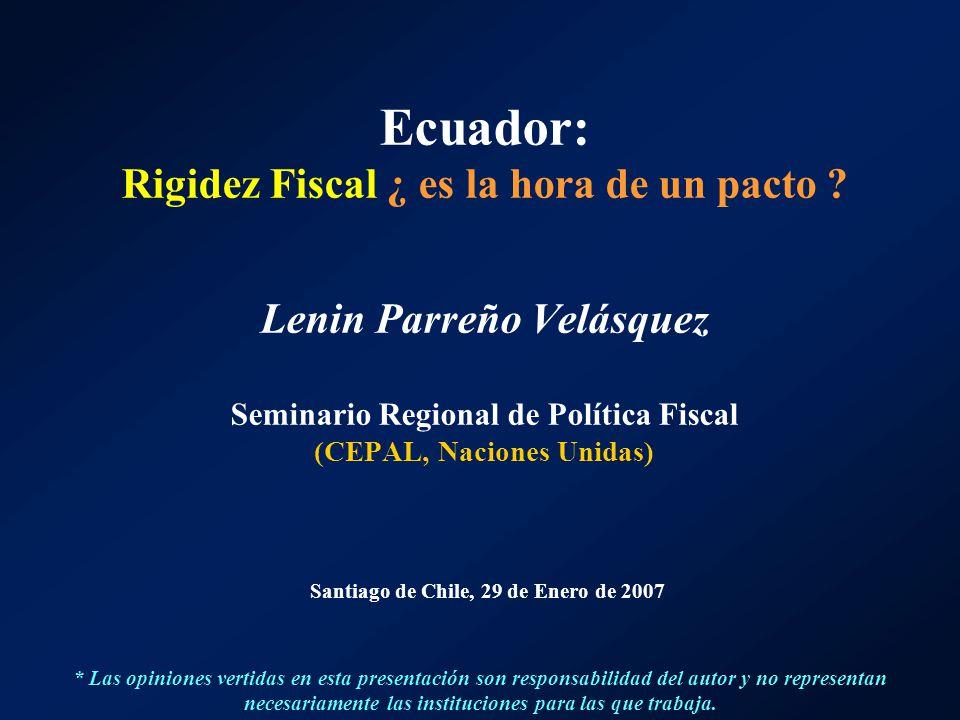 Ecuador: Rigidez Fiscal ¿ es la hora de un pacto ? Lenin Parreño Velásquez Seminario Regional de Política Fiscal (CEPAL, Naciones Unidas) Santiago de