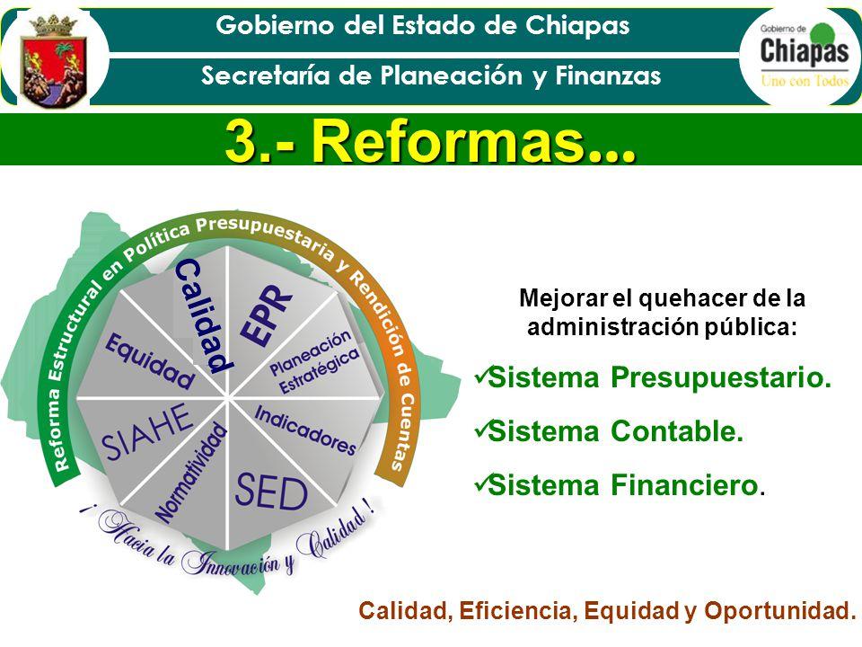 Gobierno del Estado de Chiapas Secretaría de Planeación y Finanzas Establecer un marco de actuación vigente, transparente y eficaz.