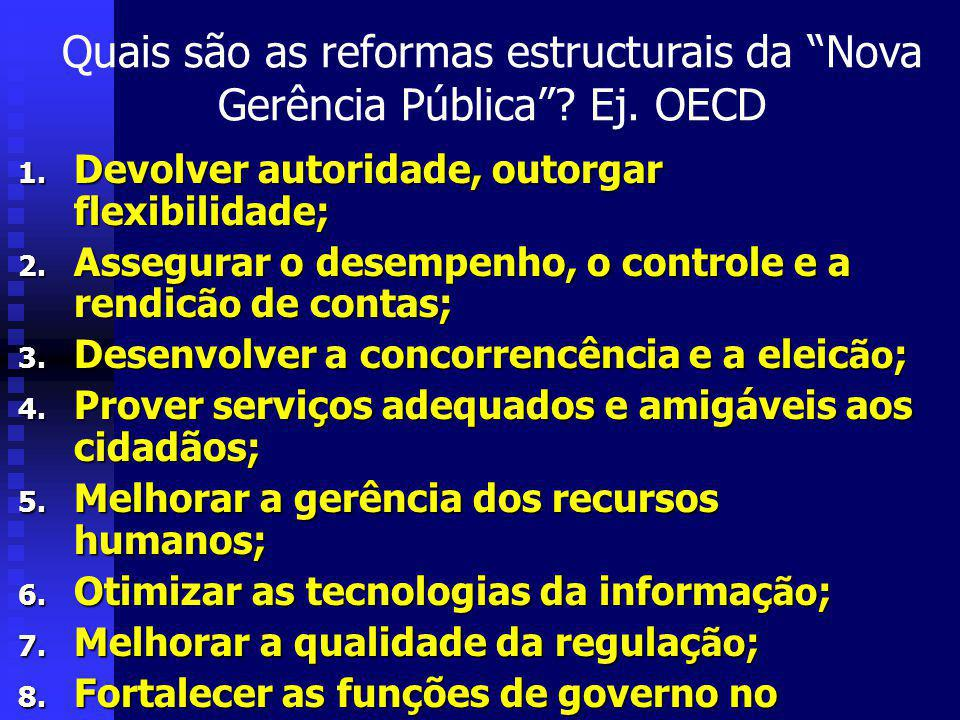 Quais são as reformas estructurais da Nova Gerência Pública.