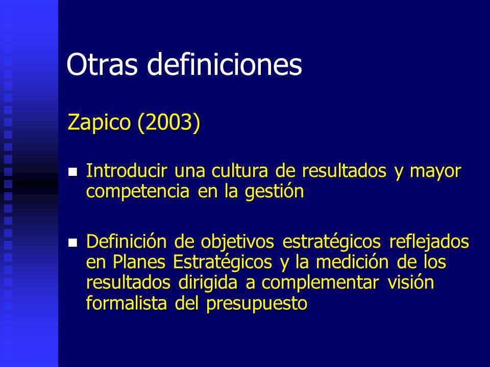 Otras definiciones Zapico (2003) Introducir una cultura de resultados y mayor competencia en la gestión Introducir una cultura de resultados y mayor competencia en la gestión Definición de objetivos estratégicos reflejados en Planes Estratégicos y la medición de los resultados dirigida a complementar visión formalista del presupuesto Definición de objetivos estratégicos reflejados en Planes Estratégicos y la medición de los resultados dirigida a complementar visión formalista del presupuesto