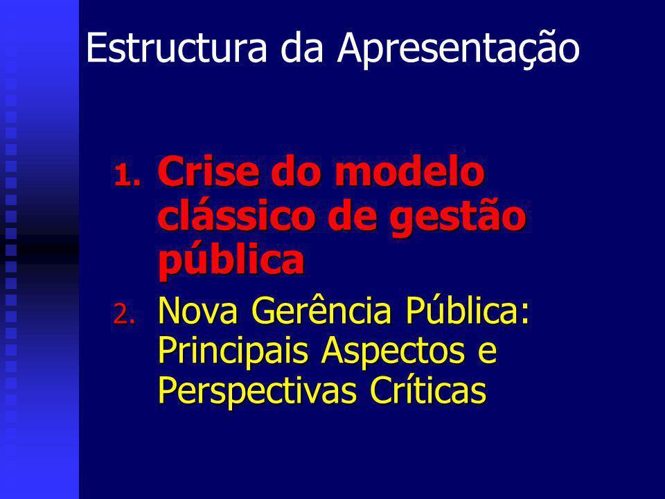 Estructura da Apresentação 1. Crise do modelo clássico de gestão pública 2.