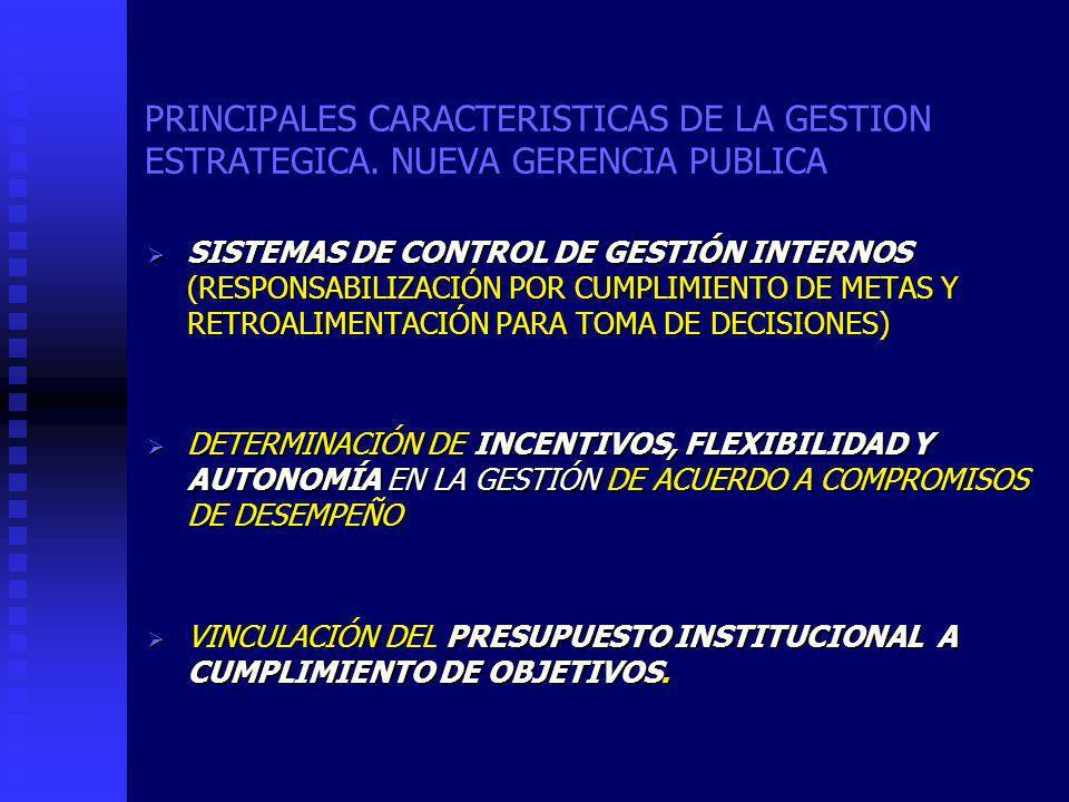 PRINCIPALES CARACTERISTICAS DE LA GESTION ESTRATEGICA.