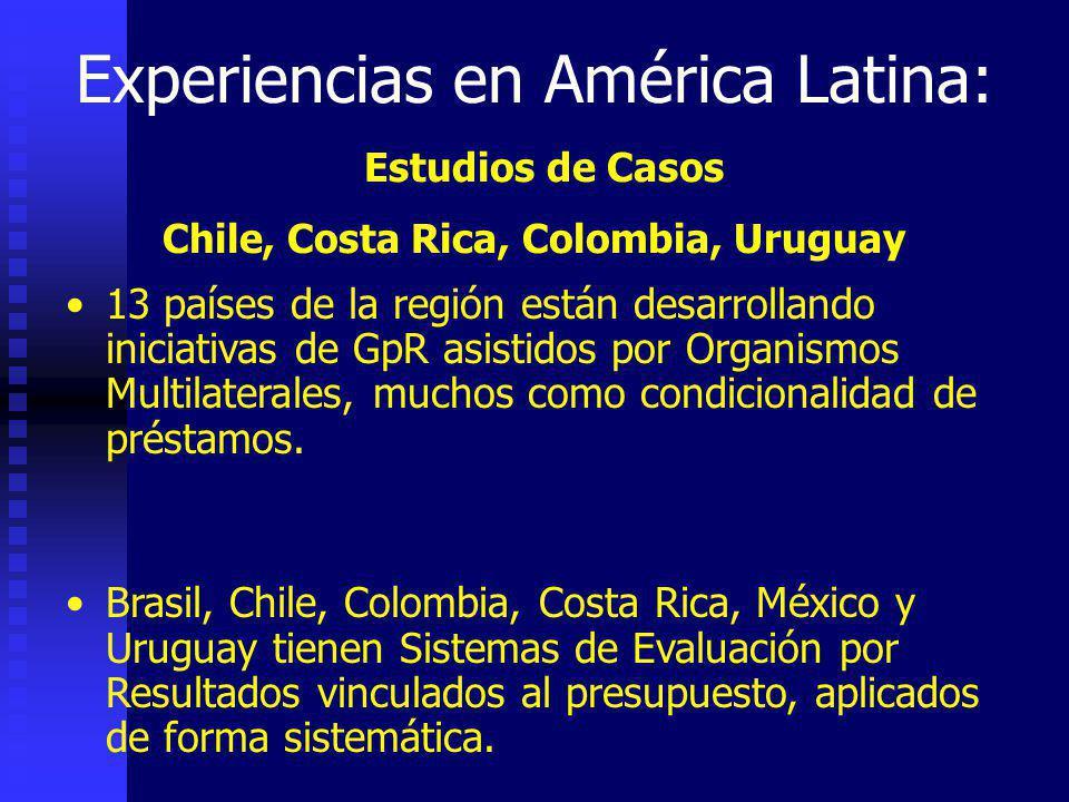 Experiencias en América Latina: Estudios de Casos Chile, Costa Rica, Colombia, Uruguay 13 países de la región están desarrollando iniciativas de GpR asistidos por Organismos Multilaterales, muchos como condicionalidad de préstamos.