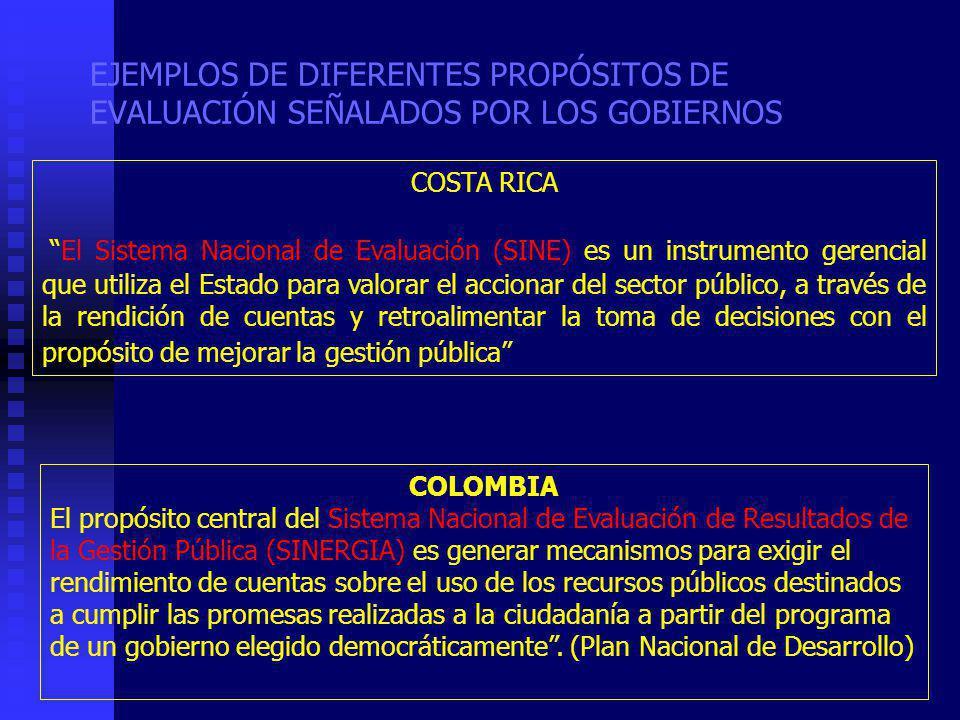 EJEMPLOS DE DIFERENTES PROPÓSITOS DE EVALUACIÓN SEÑALADOS POR LOS GOBIERNOS COSTA RICA El Sistema Nacional de Evaluación (SINE) es un instrumento gerencial que utiliza el Estado para valorar el accionar del sector público, a través de la rendición de cuentas y retroalimentar la toma de decisiones con el propósito de mejorar la gestión pública COLOMBIA El propósito central del Sistema Nacional de Evaluación de Resultados de la Gestión Pública (SINERGIA) es generar mecanismos para exigir el rendimiento de cuentas sobre el uso de los recursos públicos destinados a cumplir las promesas realizadas a la ciudadanía a partir del programa de un gobierno elegido democráticamente.