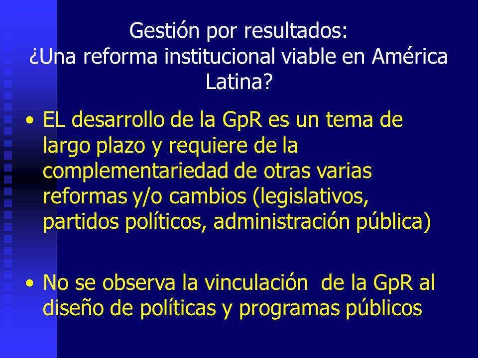 Gestión por resultados: ¿Una reforma institucional viable en América Latina.