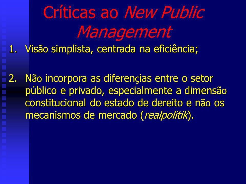 Críticas ao New Public Management 1.Vis ão simplista, centrada na eficiência; 2.N ão incorpora as diferen ç ias entre o setor público e privado, especialmente a dimens ão constitucional do estado de dereito e n ão os mecanismos de mercado (realpolitik).