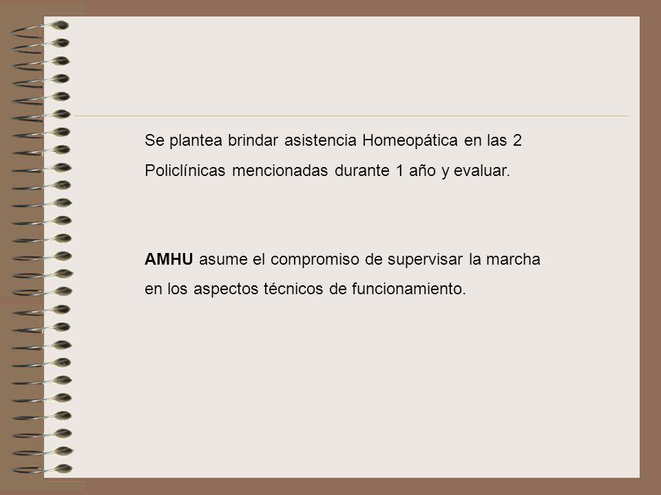 Se plantea brindar asistencia Homeopática en las 2 Policlínicas mencionadas durante 1 año y evaluar. AMHU asume el compromiso de supervisar la marcha
