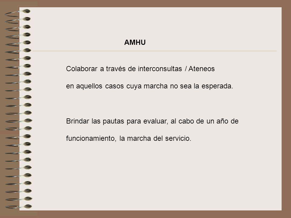 AMHU Colaborar a través de interconsultas / Ateneos en aquellos casos cuya marcha no sea la esperada. Brindar las pautas para evaluar, al cabo de un a