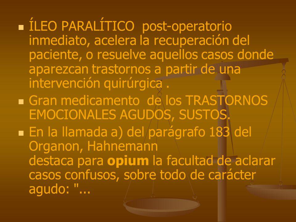 ÍLEO PARALÍTICO post-operatorio inmediato, acelera la recuperación del paciente, o resuelve aquellos casos donde aparezcan trastornos a partir de una