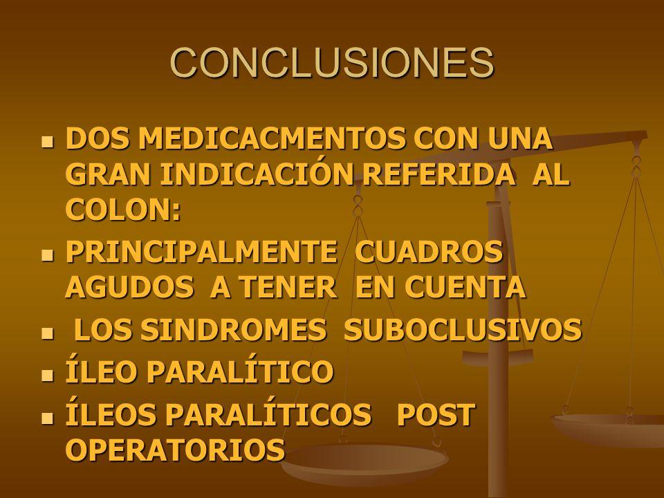 CONCLUSIONES DOS MEDICACMENTOS CON UNA GRAN INDICACIÓN REFERIDA AL COLON: DOS MEDICACMENTOS CON UNA GRAN INDICACIÓN REFERIDA AL COLON: PRINCIPALMENTE