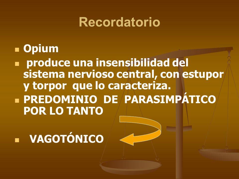Recordatorio Opium produce una insensibilidad del sistema nervioso central, con estupor y torpor que lo caracteriza. PREDOMINIO DE PARASIMPÁTICO POR L
