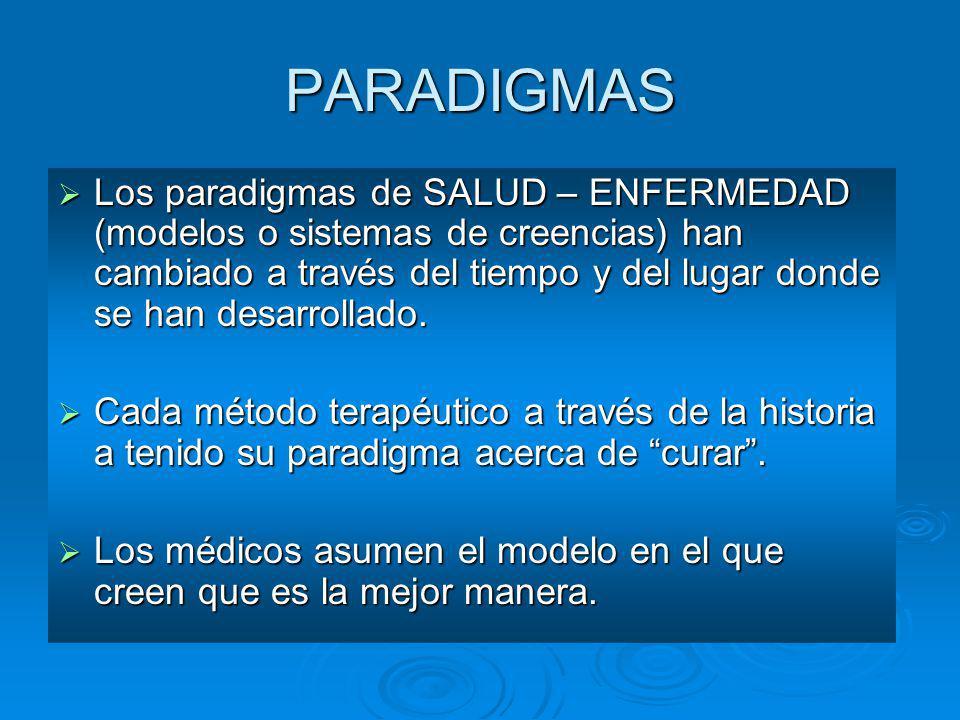 PARADIGMAS Los paradigmas de SALUD – ENFERMEDAD (modelos o sistemas de creencias) han cambiado a través del tiempo y del lugar donde se han desarrolla