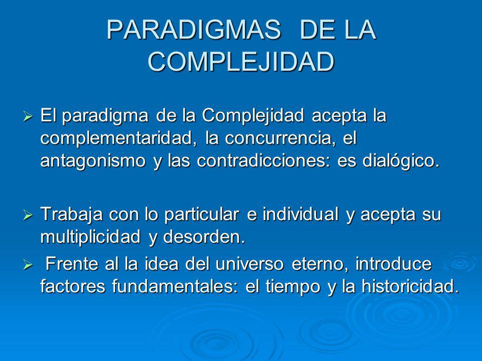 PARADIGMAS DE LA COMPLEJIDAD El paradigma de la Complejidad acepta la complementaridad, la concurrencia, el antagonismo y las contradicciones: es dial