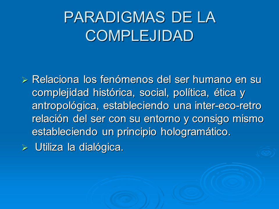 PARADIGMAS DE LA COMPLEJIDAD Relaciona los fenómenos del ser humano en su complejidad histórica, social, política, ética y antropológica, estableciend